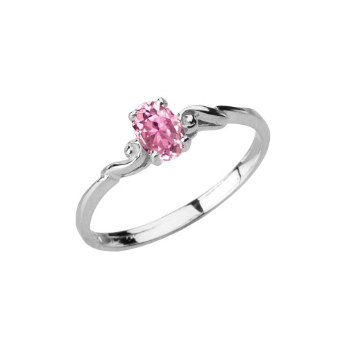 Dainty White Gold Elegant Swirled Pink Cubic Zirconia Solitaire Ring