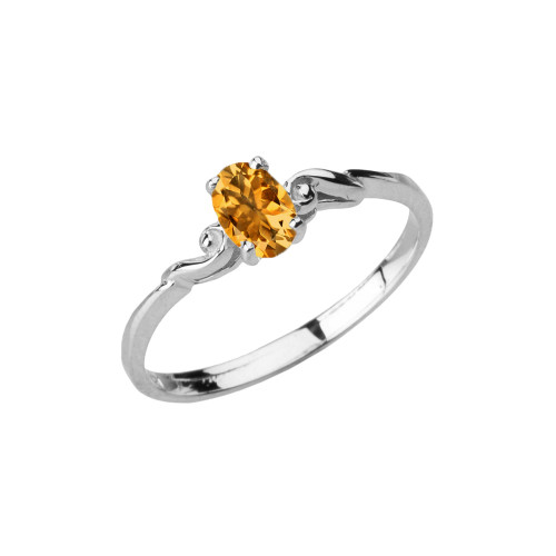 Dainty White Gold Elegant Swirled Genuine Citrine Solitaire Ring