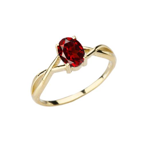 Dainty Yellow Gold Infinity Design Garnet (LCG) Solitaire Ring