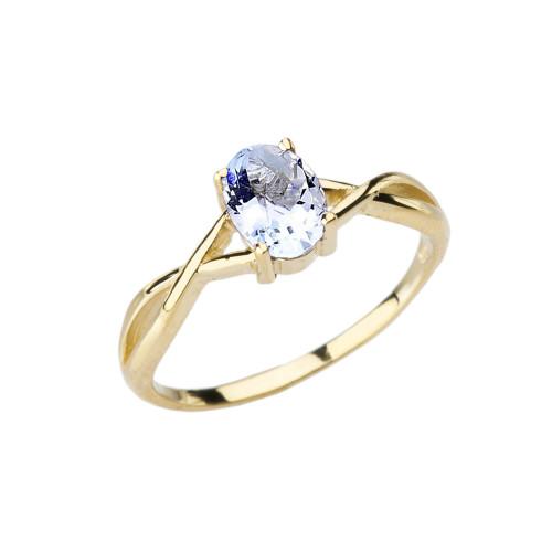 Dainty Yellow Gold Infinity Design Aquamarine (LCAQ) Solitaire Ring