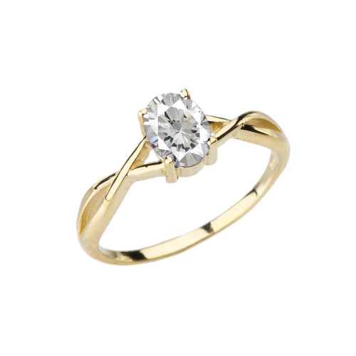 Dainty Yellow Gold Infinity Design Cubic Zirconia (C.Z) Solitaire Ring
