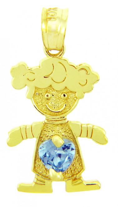 CZ Light Blue Gem  Girl Birthstone Charm