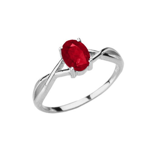 Dainty White Gold Infinity Design Ruby (LCR) Solitaire Ring