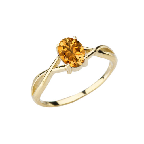 Dainty Yellow Gold Infinity Design Citrine (LCC) Solitaire Ring