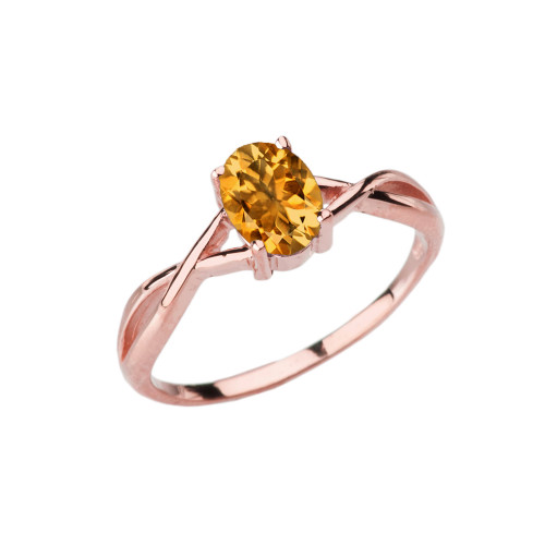Dainty Rose Gold Infinity Design Citrine (LCC) Solitaire Ring