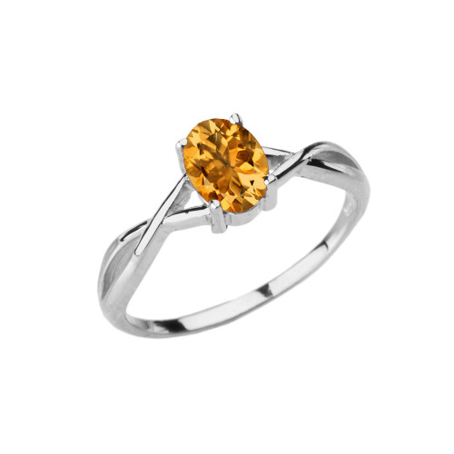 Dainty White Gold Infinity Design Citrine (LCC) Solitaire Ring