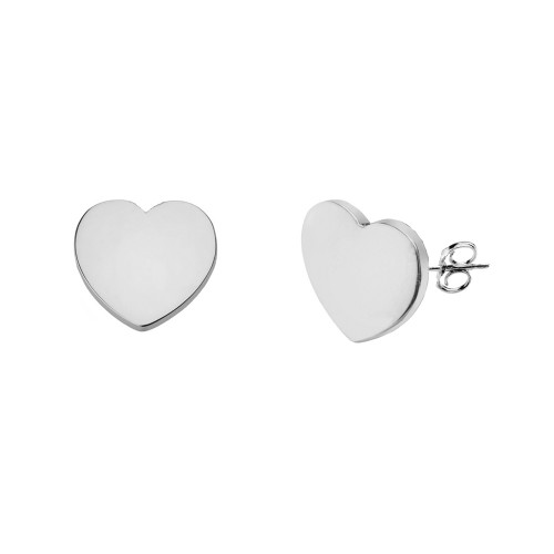 1f93b19ea Solid White Gold Simple Heart Pendant Necklace Set