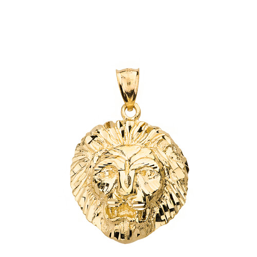 Diamond Cut Leo Zodiac Roaring Lion Head Pendant Necklace in Solid Gold (Yellow/Rose/White)