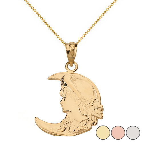 Art Nouveau Lady in Crescent Moon Pendant Necklace in Solid Gold (Yellow/Rose/White)
