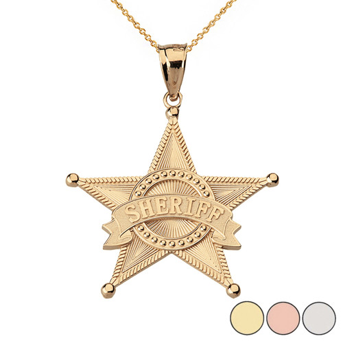 Textured Sheriff Badge Star Pendant Necklace  in Solid Gold (Yellow/Rose/White)