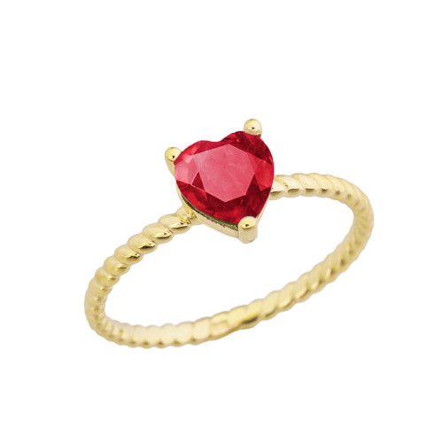 Dainty Ruby (LCR) Heart Rope Ring in Yellow Gold