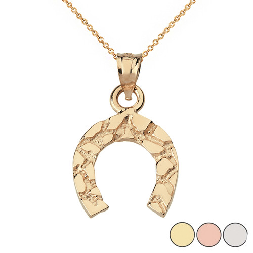 Nugget Horseshoe Pendant Necklace in Solid Gold (Yellow/Rose/White)