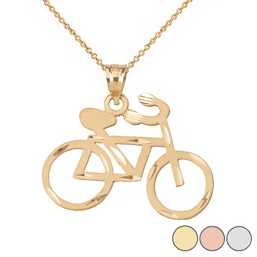 Sparkle Cut Bicycle Pendant Necklace in Solid Gold (Yellow/Rose/White)