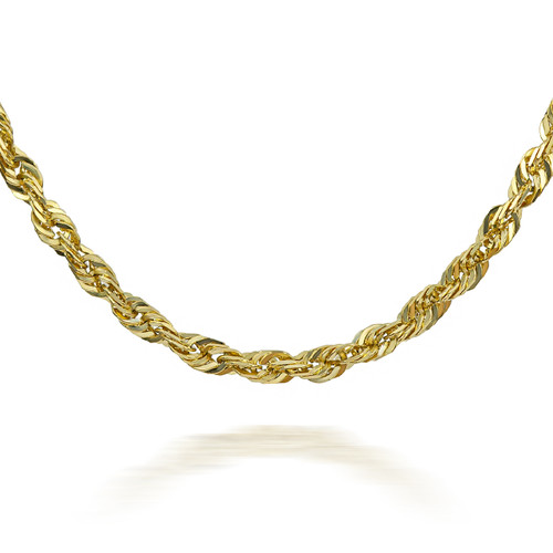 Gold Chains: Rope Solid Diamond Cut Gold Chain 1 mm