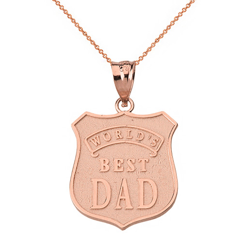 Solid Rose Gold Matte and Shiny World's Best Dad Badge Pendant Necklace