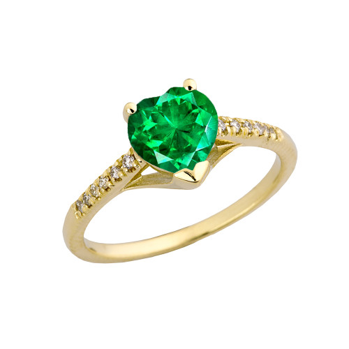Emerald (LCE) & Diamond Engagement and Proposal Ring in Yellow Gold