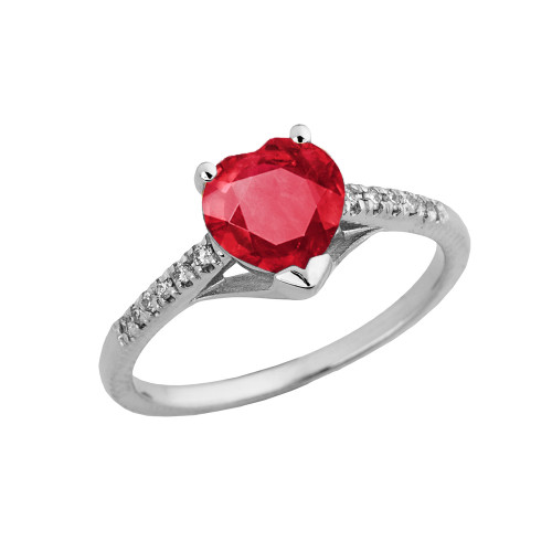 Ruby (LCR) & Diamond Engagement and Proposal Ring in White Gold