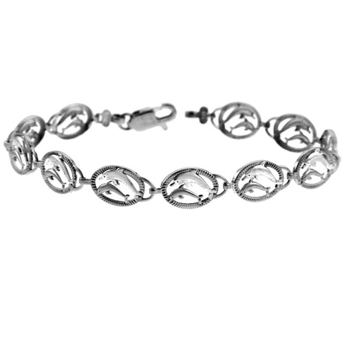 White Gold The Two Dolphins Bracelet