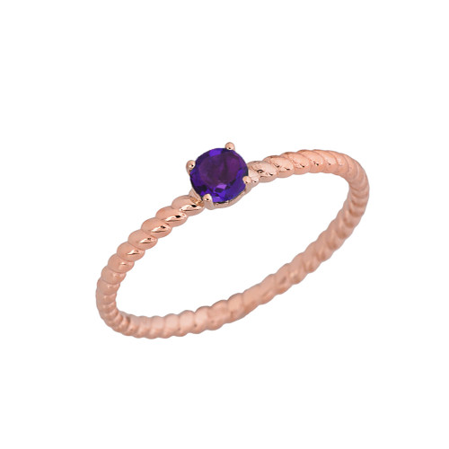Genuine Amethyst  Stackable  Rope Ring in Rose Gold
