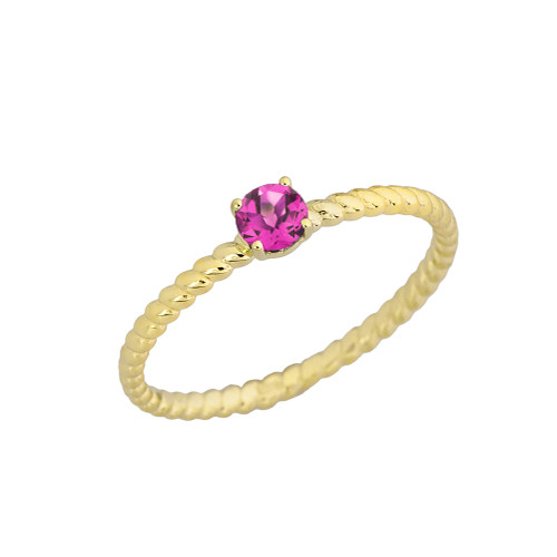 Stackable  Rope Ring With Alexandrite (LCAL)  in Yellow Gold