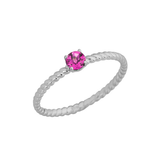 Stackable  Rope Ring With Alexandrite (LCAL)  in White  Gold
