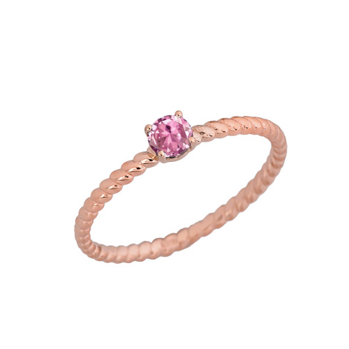 Stackable  Rope Ring With Pink CZ  in Rose  Gold