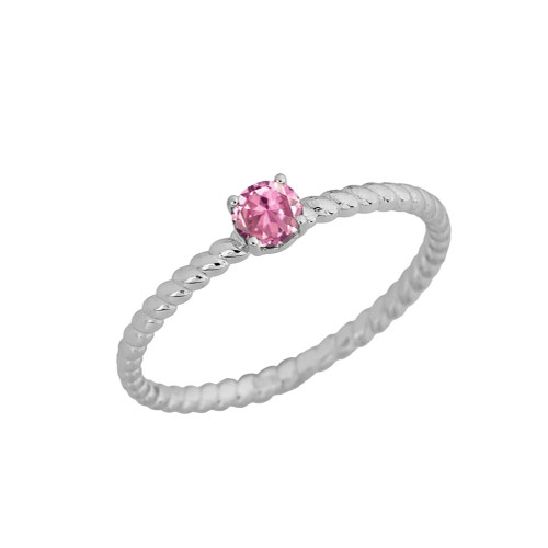 Stackable  Rope Ring With Pink CZ  in White  Gold