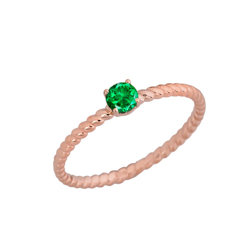 Genuine Emerald Stackable Rope Ring in Rose  Gold