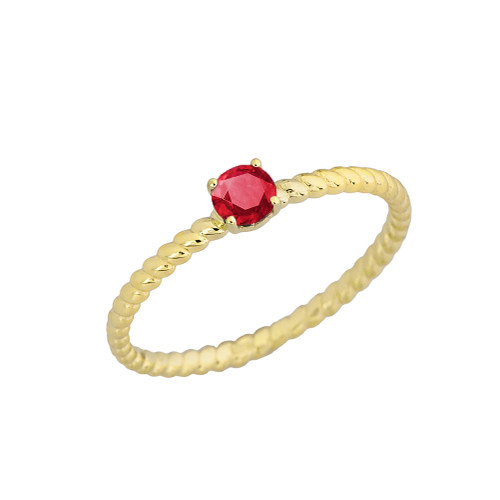 Genuine Ruby  Stackable Rope Ring in Yellow Gold