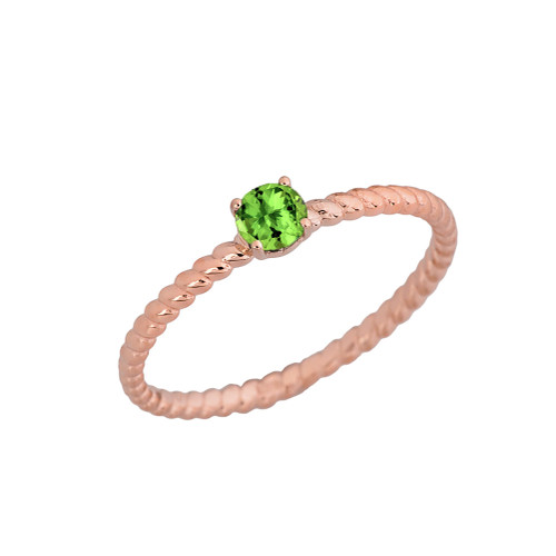 Genuine Peridot  Stackable Rope Ring in Rose  Gold