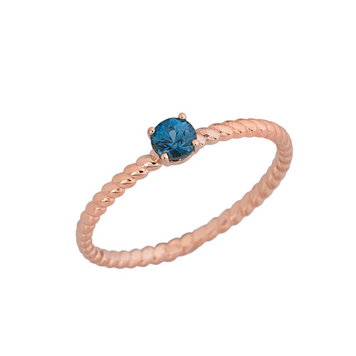 Genuine Blue Topaz  Stackable Rope Ring in Rose Gold