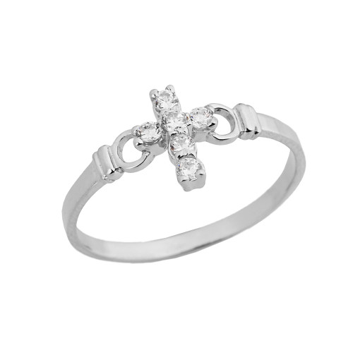 Ladies Purity Cross Ring With CZ In White Gold