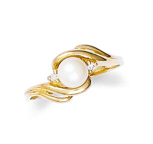 Gold Pearl Swirl Ring