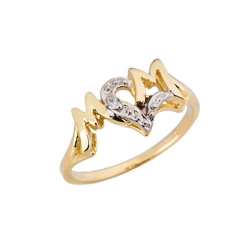 Chic 'MOM' Heart Diamond Ring in Solid Yellow Gold