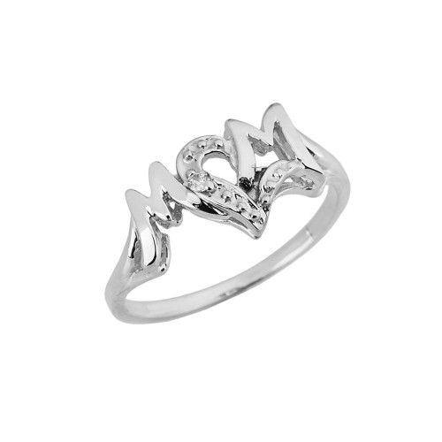 Chic 'MOM' Heart Diamond Ring in Solid White Gold