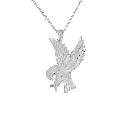 American Eagle Pendant Necklace in Solid White Gold