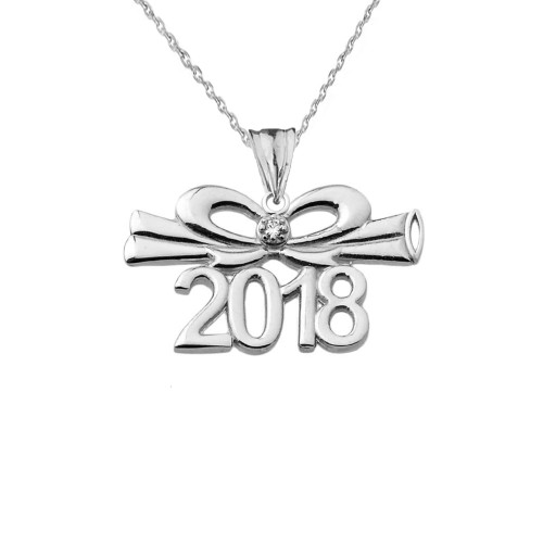 Dainty Diamond  2018 Bow And Diploma Graduation Pendant Necklace In Sterling Silver