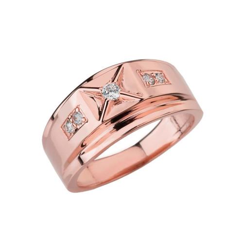 Classy Mens Diamond Ring in Rose Gold