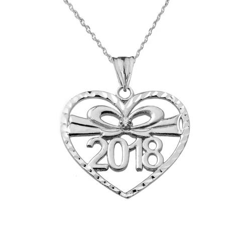Diamond 2018 Graduation heart Pendant Necklace In White  Gold