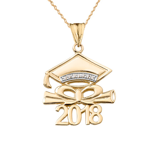 Diamond 2018 Graduation Cap And Diploma  Pendant Necklace In Yellow Gold