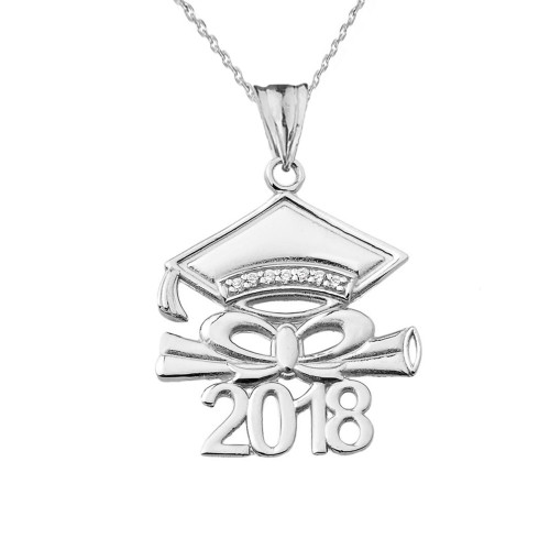 Diamond 2018 Graduation Cap And Diploma  Pendant Necklace In White  Gold
