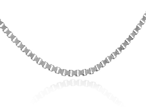 Gold Chains: Box Link White Gold Chain 0.80mm