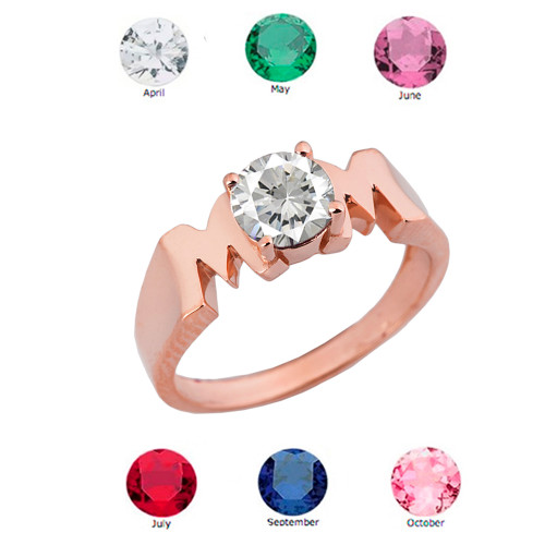 """Rose Gold Personalized """"Mom"""" Ring With CZ"""