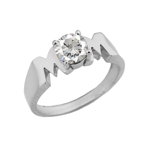 "White  Gold Personalized ""Mom"" Ring With CZ"