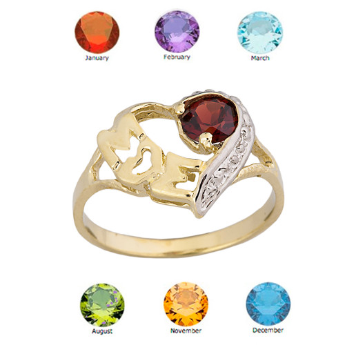 "Yellow Gold Personalized ""Mom"" Solitaire  Open Heart Ring With Genuine Gemstone"