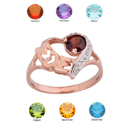 "Rose Gold Personalized ""Mom"" Solitaire Open Heart Ring With Genuine Gemstone"