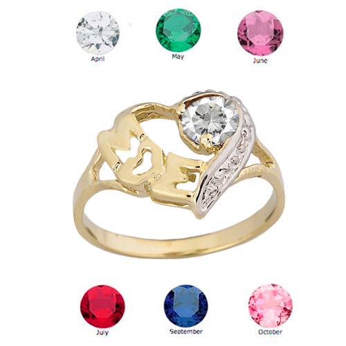 """Yellow Gold Personalized """"Mom"""" Solitaire  Open Heart Ring With CZ Birthstone"""