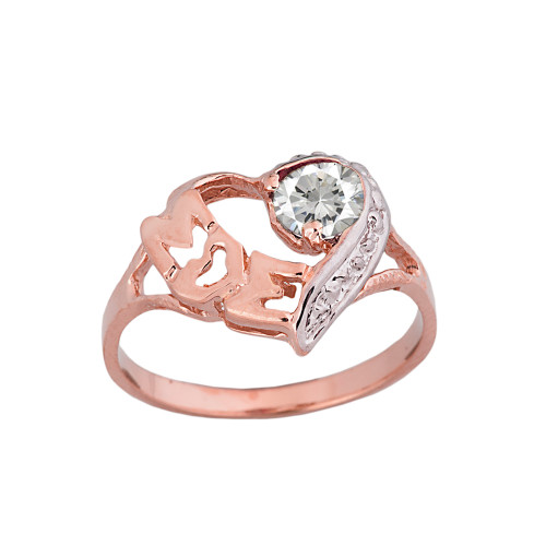 "Rose  Gold Personalized ""Mom"" Solitaire  Open Heart Ring With CZ Birthstone"