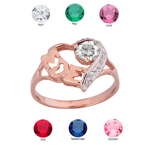 """Rose  Gold Personalized """"Mom"""" Solitaire  Open Heart Ring With CZ Birthstone"""