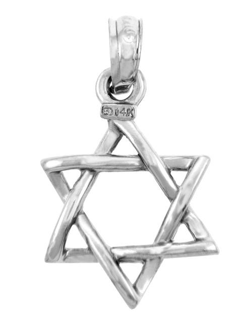 Jewish Charms and Pendants - 14K White Gold Star of David Pendant